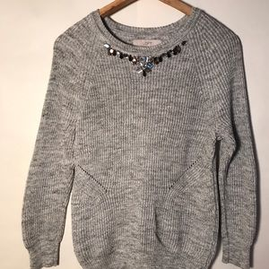 ANN TAYLOR LOFT GRAY BEADED JEWEL NECK Sweater S